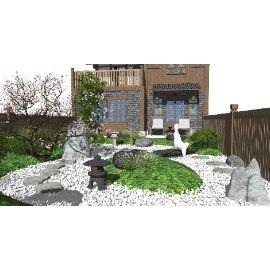 日式枯山水禅意庭院景观 景观小品 枯枝su模型
