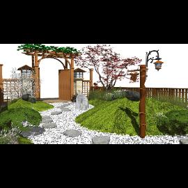 新中式禅意庭院景观 景观小品 门头 石头 景观灯su模型