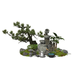 新中式景观小品庭院景观跌水景观石磨植物石头水景SU模型