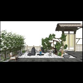 新中式庭院景观 假山民宿庭院小景su模型