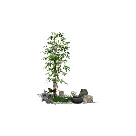 新中式景观小品庭院景观石头水景SU模型