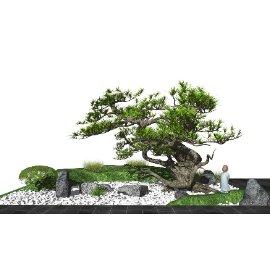 新中式庭院景观小品 枯山石景观树su模型