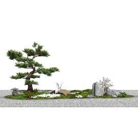 新中式景观小品 庭院景观 景观树 枯山石su模型