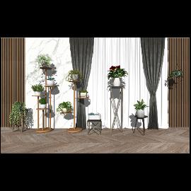 现代绿植盆栽 植物 花架su模型