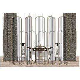 新中式椅子案台窗帘组合SU模型