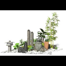 新中式庭院景观 景观小品 水景su模型