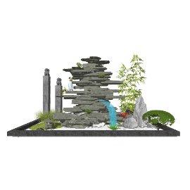 新中式假山石头 滨水景观 庭院景观 景观小品su模型