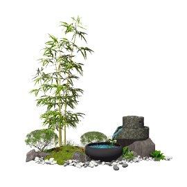 新中式景观小品 庭院景观 跌水景观 SU模型