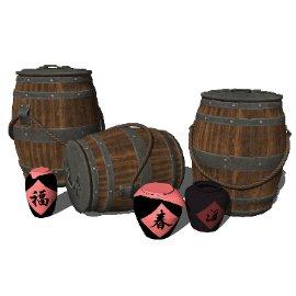 现代酒桶木桶酒瓶农家乐小品SU模型