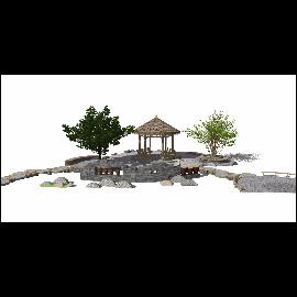 新中式禅意庭院景观 景观小品 民宿su模型