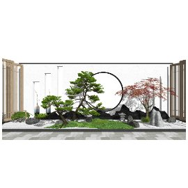 新中式景观小品景墙 景观树 枯山水片石假山SU模型