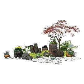 新中式庭院景观 景观小品 花盆花箱 植物 盆栽 石头su模型
