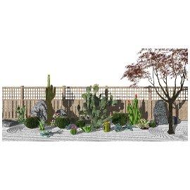 现代庭院景观 仙人掌、仙人球 枯山水 景观小品 石头 木围栏su模型