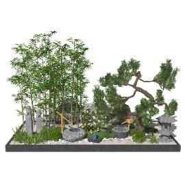 新中式景观小品庭院景观跌水景观松树SU模型