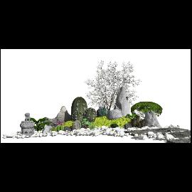 新中式景观小品假山石头 仙人掌su模型
