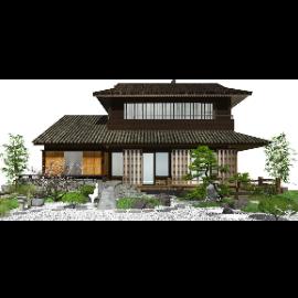 新中式日式景观小品 庭院景观 枯山水 SU模型