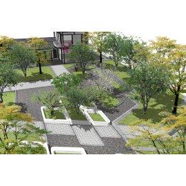现代公园景观 庭院景观 景观小品SU模型