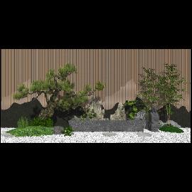 新中式庭院景观小品 景观树 石头su模型