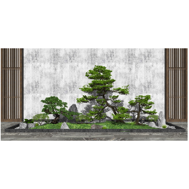 新中式庭院景观 景观小品 景观树 植物 石头su模型