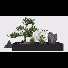 新中式庭院景观 景观小品 树 石头su模型