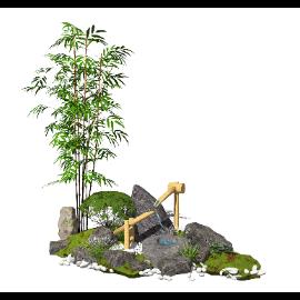 新中式景观小品跌水景观石头植物庭院景观SU模型