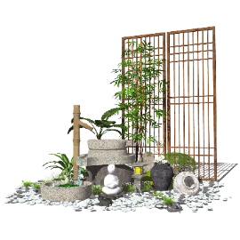 新中式景观小品庭院景观跌水景观SU模型
