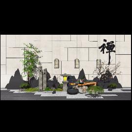 新中式景观小品景墙跌水景观枯山水SU模型