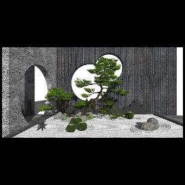 新中式庭院景观 景观小品 仙人球 石头 枯山水景观 禅意景观小品su模型