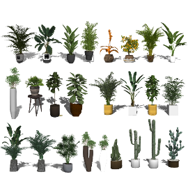 现代盆栽 绿植 植物su模型3