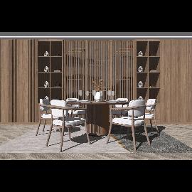 新中式圆形餐桌椅su模型