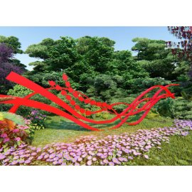 红色创意飘带雕塑小品