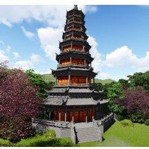 中式古建筑 lumion宣传效果图