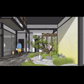 新中式庭院 景观小品松树庭院景观跌水景观SU模型