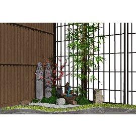 新中式景观小品背景墙跌水景观隔断栓马柱SU模型
