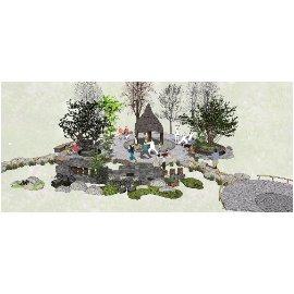 乡村景观景墙景观小品庭院景观SU模型