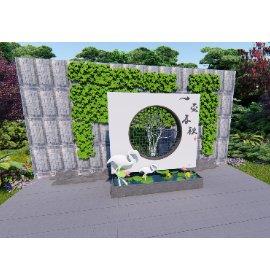 中式绿植景墙