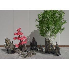 中式假山竹林 景观小品