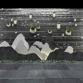 中式泰山石切片背景墙