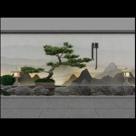 罗汉松禅意景墙