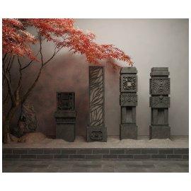 禅意红枫石柱景观小品