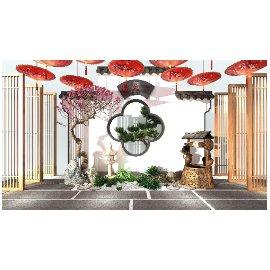 新中式古典景墙景观小品