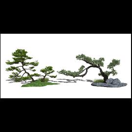 新中式庭院景观 景观树 景观小品 石头su模型