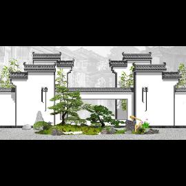 新中式景观小品 枯山水 庭院景观 禅意景观SU模型