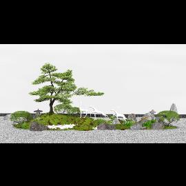日式庭院景观小品 枯山水庭院景观 禅意景观SU模型