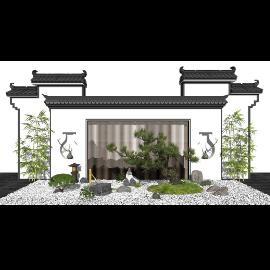 新中式景观小品 景墙 庭院景观SU模型