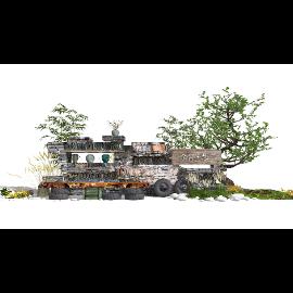 新中式景观小品庭院景观景墙标识牌SU模型