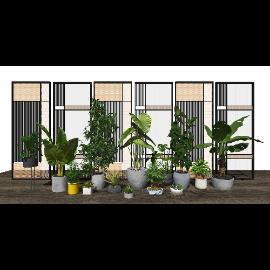 现代盆栽 隔断 植物 绿植屏风su模型