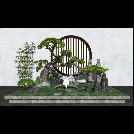 新中式庭院景观 景观小品 景观树 石头 植物su模型