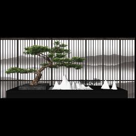 新中式景观小品 景观树su模型