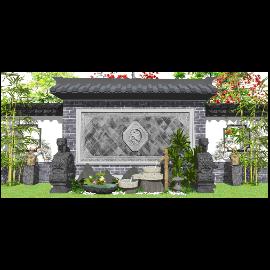 新中式庭院景观景观小品跌水景观SU模型